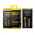 Cargador doble de baterías Nitecore Intellicharger D2 con pantalla LCD