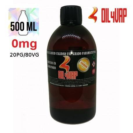 Base para Vapear OIL4VAP 500ml 20PG/80VG Sin Nicotina