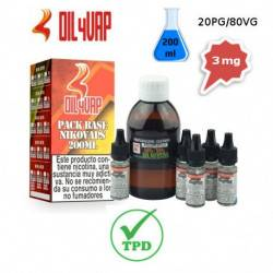 Pack Base para Vapear OIL4VAP 200ml 20PG/80VG 3mg/ml