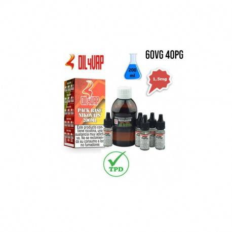 Pack Base para Vapear OIL4VAP 200ml 40PG/60VG 1,5mg/ml