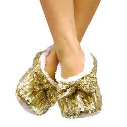 Zapatillas Bailarinas Suaves con Lentejuelas Negro L