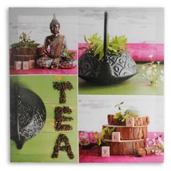 Cuadro Lino Buda Tea 50 x 50 Rosa