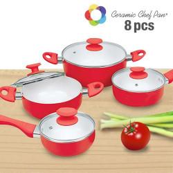 Batería de Cocina Ceramic Chef Pan (8 piezas) Rojo