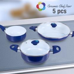 Batería de Cocina Ceramic Chef Pan (5 piezas) Azul Marino
